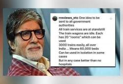 Big B shares fan's idea, says 'use rails as isolation wards'