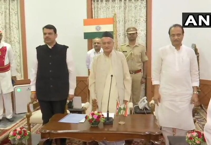 Fadnavis takes oath as Maharashtra CM again, NCP's Ajit Pawar as Dy CM
