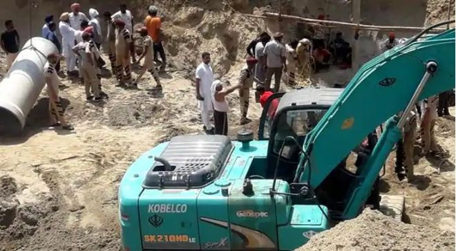 36 hours after infant falls in 150-foot borewell in Sangrur, NDRF digs parallel pit for rescue