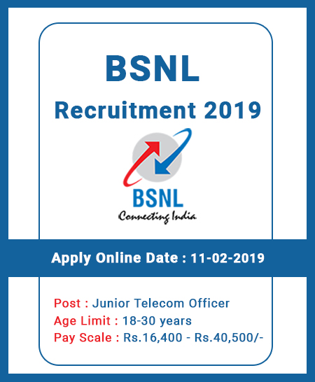 BSNL Recruitment 2019 – Apply Online for 198 Junior Telecom Officer Posts
