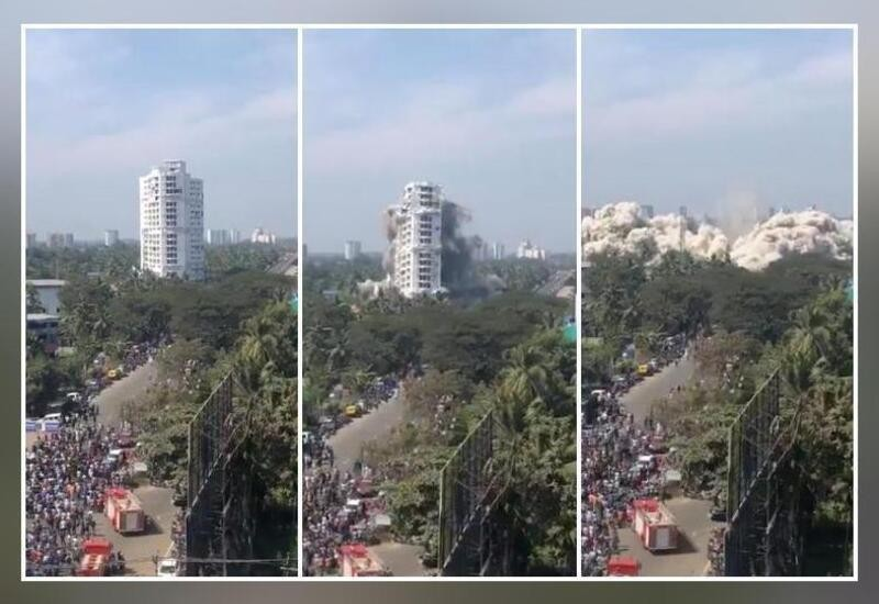 19-storey apartment building demolished with controlled explosion In Kerala