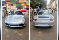 Porsche owner rides car without number plate and documents fined ₹9.8 lakh
