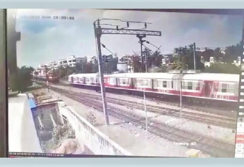 Hyd train collision captured on CCTV; footage shows train lifting off tracks