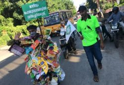 Man walks 100 km covered in packets of chips, plastic bottles waste to create awareness on littering
