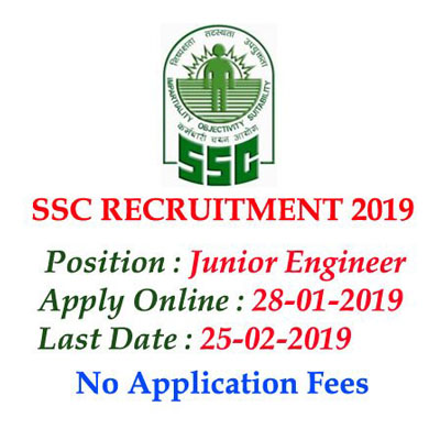 SSC Recruitment 2019 – Apply Online for Junior Engineer Vacancies