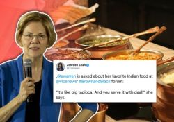 US Senator Elizabeth describes favourite Indian dish; journalist asks people to guess