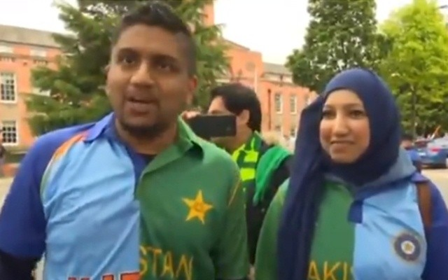 Pak husband, Indian wife wear combined jerseys at World Cup match