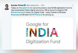 Google to invest ₹75,000 cr in India to digitise the country: CEO Sundar Pichai