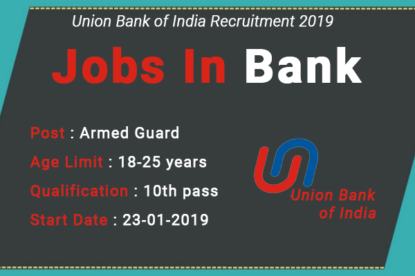 Union Bank of India Recruitment 2019 – Apply Online for 100 Armed Guard Vacancies