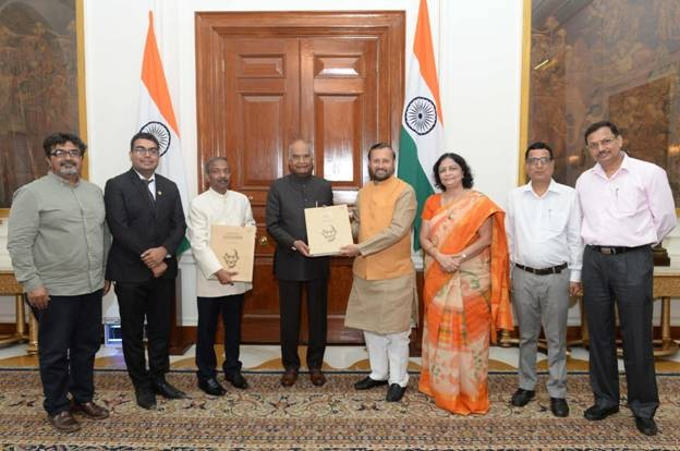 anniversary of Quit India Movement, Prakash Javadekar presents Gandhi Albums to President of India
