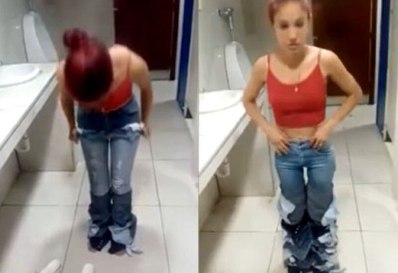 Woman caught stealing 8 pairs of jeans by wearing them all at once