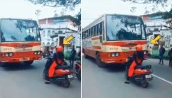 Bold and Badass Kerala Lady on scooty makes bus driver take right lane: Video went viral on Twitter