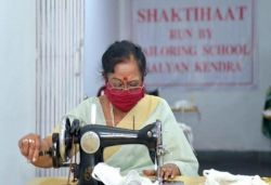 President Kovind's wife stitches masks for shelter homes