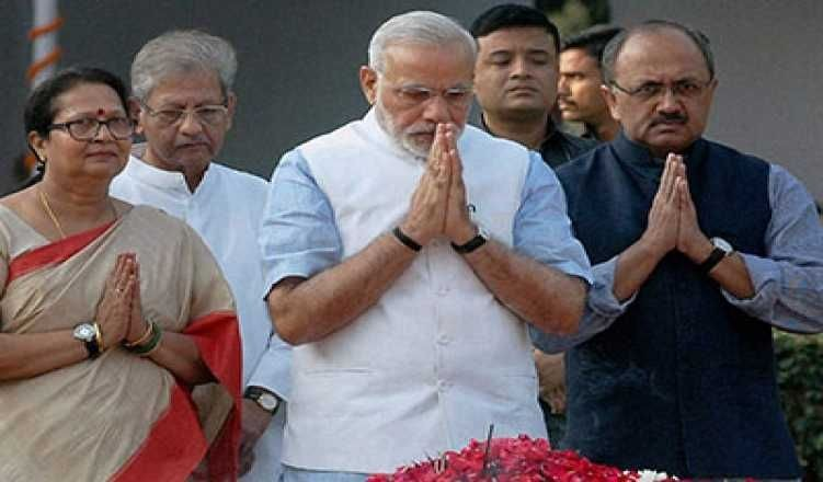 PM Modi begins day at Rajghat, Vajpayee's memorial before taking oath