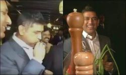 MS Dhoni tries to whistle using spring onions at an event, video goes viral