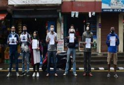 Protest outside China embassy in Nepal against alleged interference