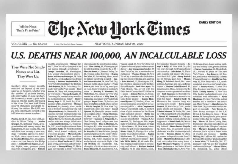 NYT covers front page with COVID-19 death notices, publishes names ...