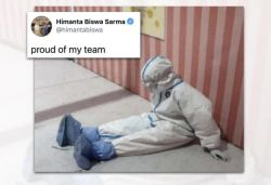 Pic of nurse resting on floor wearing PPE kit in Assam hospital goes viral