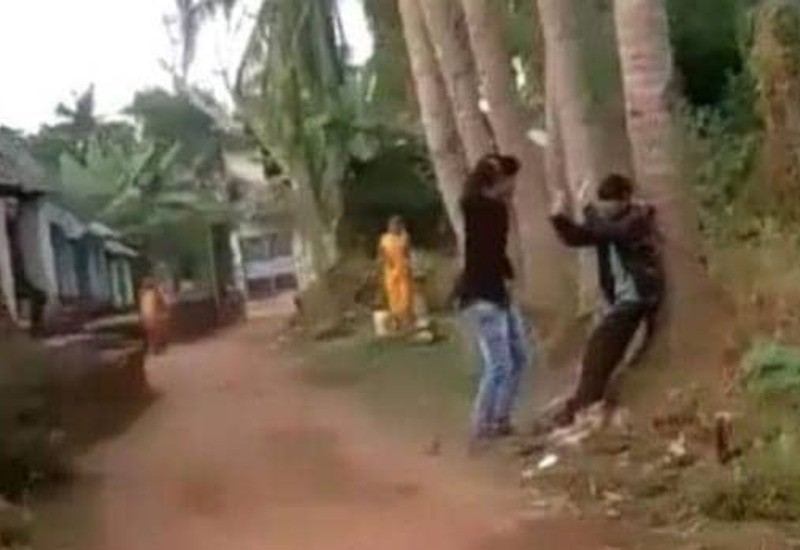 Young man tied to a tree for love affair, urinated on his face after asking for water