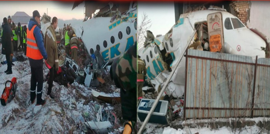 Plane carrying 100 crashes into 2-storey building after take-off from Kazakh airport