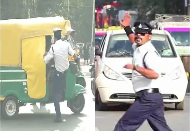 Traffic policeman who went viral for his dance seen kicking MP auto driver