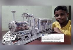 Kerala boy makes train model with newspapers, Railways shares pics