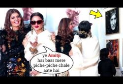 Rekha says 'This is danger zone', walks away from Amitabh Bachchan's photo, Watch video