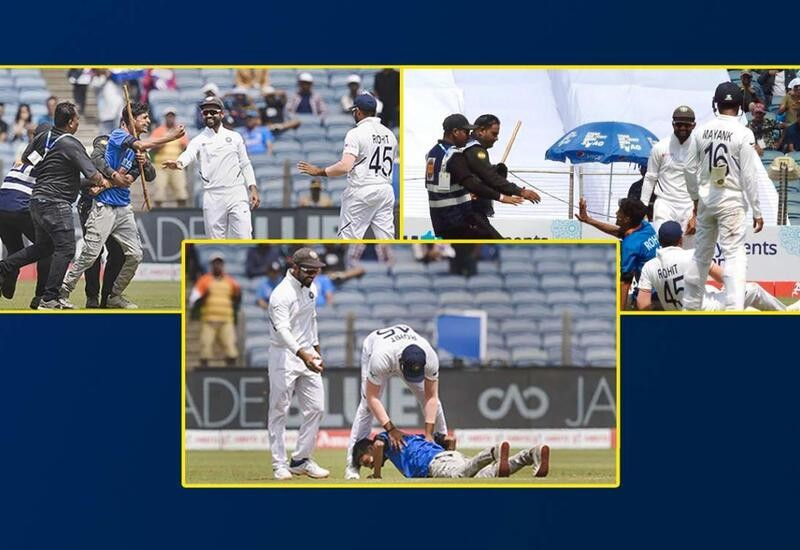 Fan invades ground, takes Rohit Sharma down while trying to kiss his feet