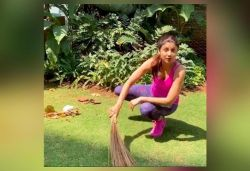 Grateful for everyone who made life easier: Shilpa shares video sweeping garden