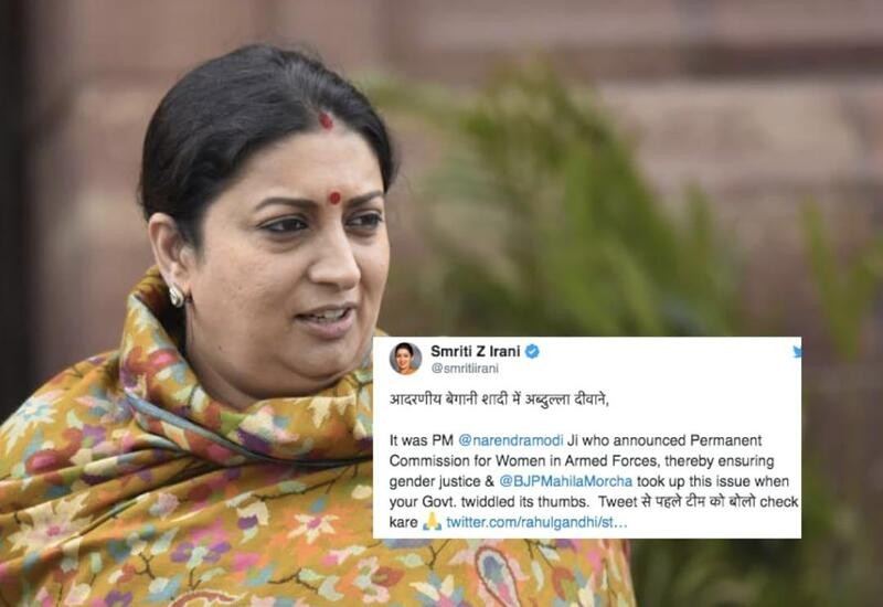 Ask team to check before tweeting: Smriti to Rahul on women Army officers ruling