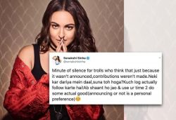 Sonakshi questioned by trolls about donation for COVID-19 relief; actress replies