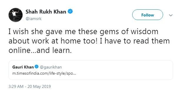 Shah Rukh wants some gems of wisdom from wife Gauri at home, complains he has to read them online