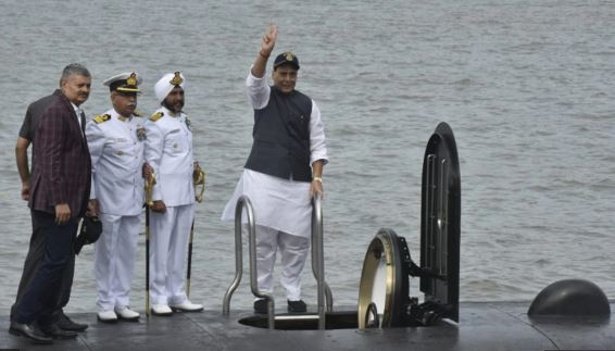 Defence Minister Rajnath Singh commissioned indigenously built submarine INS Khanderi