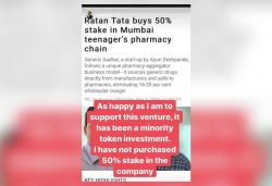 I haven't picked up 50% stake in 18-yr-old's pharma startup, clarifies Ratan Tata