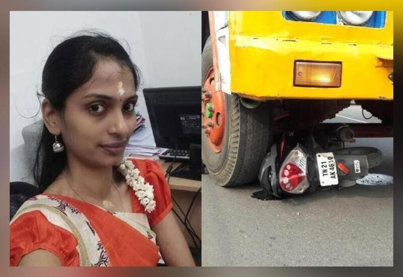 Woman on scooter tries to avoid AIADMK flagpole, gets hit by truck