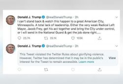Twitter hides Trump's 'when looting starts, shooting starts' tweet on protests