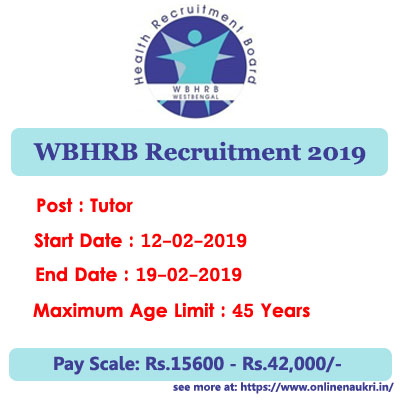 WBHRB Recruitment 2019 – Apply Online for 402 Tutor Posts