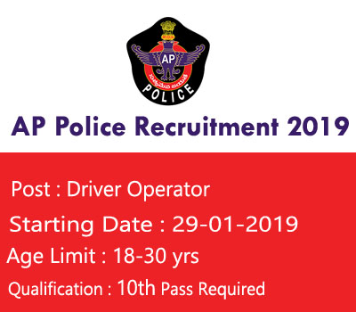 AP Police Recruitment 2019 – Apply for 85 Driver Operator