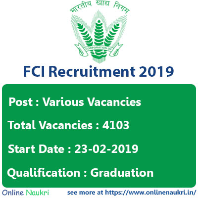 FCI Recruitment 2019 – Apply Online for 4103 Junior Engineer, Typist, Assistant & Stenographer Posts