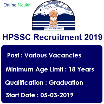 HPSSC Recruitment 2019 – Apply Online for 226 Assistant, Technician and Other Posts