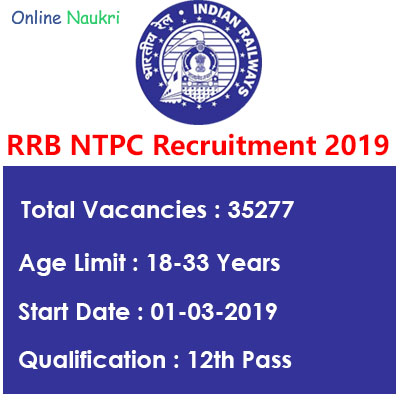 RRB NTPC Recruitment 2019 – Apply Online for 35277 Graduate & Undergraduate Posts