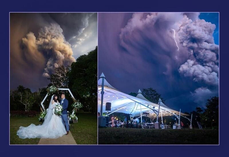 Couple gets married while Taal volcano erupts in background, pics go viral