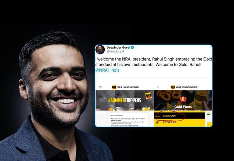 Zomato CEO mocks NRAI head & Beer Café owner for offering Gold services